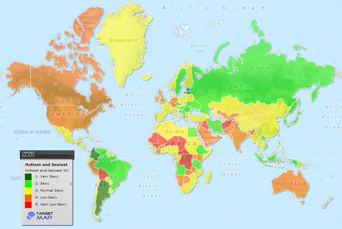 Mapa - as mulheres mais sexys do mundo