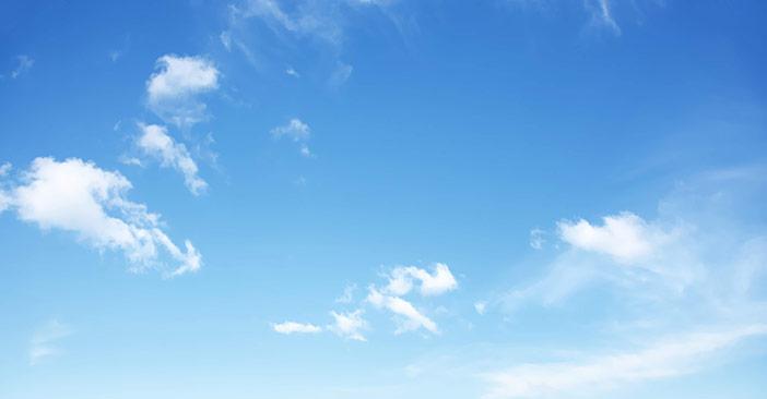 Não menospreze o poder de um céu azul, bem como o de um dia bonito