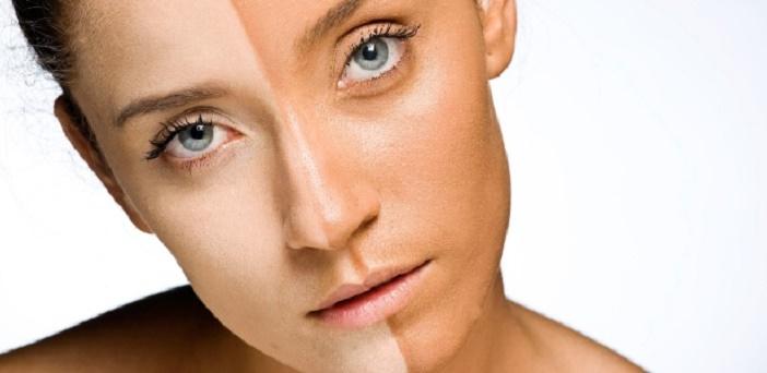 mulher branca e bronzeada